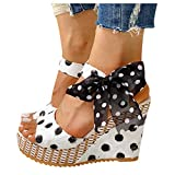 HIRIRI Womens Lace Platform Wedge Sandals Printed Open Toe Lace Up Espadrille High Heel Summer Shoes White