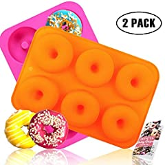 Size: 10 x 7 x 1 inches, the diameter of each cavity is about 3 inch, and 6 cavities in total, ideal for the use of whole family. This silicone donut mold is firmer and more durable compared to normal ones, and it can also be applied to other dessert...