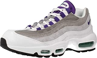 Men's Air Max 95 LV8 Casual Shoes (11, White/Court Purple/Emerald Green)