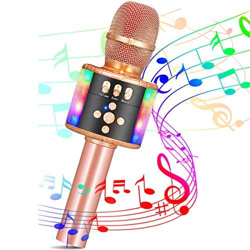 SGODDE Karaoke Mikrofon Bluetooth für Kinder,Tanzen LED Lichter,Tragbares drahtlose Handmikrofon mit KTV Lautsprecher Recorder für Erwachsene,Kinder,für Geschenk/KTV/Party,Android/IOS,PC