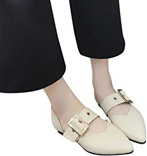 HOT Sale,AIMTOPPY Women Flat Heel Shallow Mouth Pure Color Buckle Strap Casual Shoes (US:5, Beige)