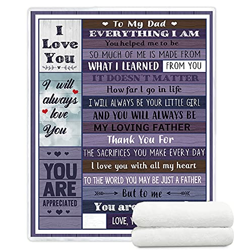 to My Dad Throw Blankets from Daughter Soft Sherpa Throw Blankets for Men and Women Gifts for Father from Daughter (to Dad, 130x150cm(50x60inches))