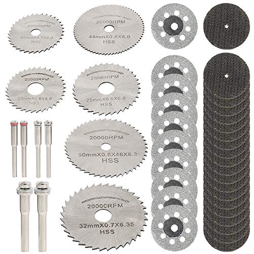 ODOMY 42PCS Cutting Wheels Set for Rotary Tool Kit, Mini Diamond Cutting Wheel, HSS Circular Saw Blades and Resin Metal Cutting Wheels Tools for Wood Metal Stone Cutting