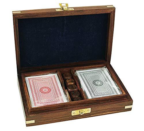 zeitzone Spiele-Set Würfel & Spielkarten in Holzbox mit Messingbeschlägen Maritim Boot
