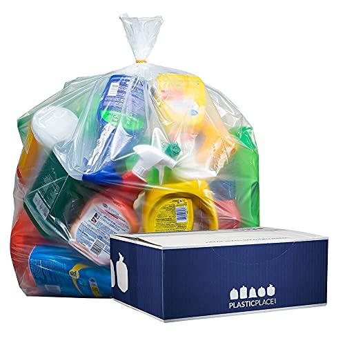 Plasticplace bolsas de basura de 55 – 60 galones, 1.2 mil, transparentes, resistentes, bolsas de basura, 100 unidades
