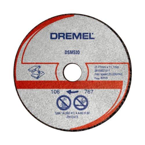 Dremel DSM510 Multifunktions Metall-und Kunststofftrennscheibe, Zubehörsatz mit 3 Trennscheiben 77mm für die Kreissäge zum Sägen und Trennen von Holz und weichen Materialien