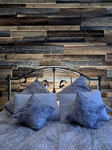 3D Altholz Wandverkleidung zum Kleben. Vintage Holz Verkleidung. Schnell anzubringende Wandpeneele. Tolle Holzdeko für die Wand. Echtholz Verblender - 4