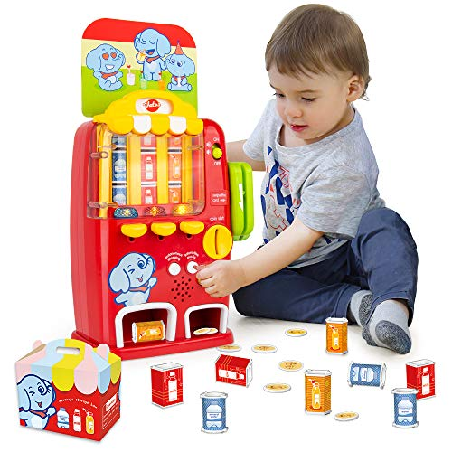 VATOS Interactive Vending Machine Toy Pretend Play for Toddlers Light and Sound Electronic Educational Toys Early Development Toy Mini Drink Machine Games,Fun Gift for Boys Girls Age 2 3 4 5 Years Old