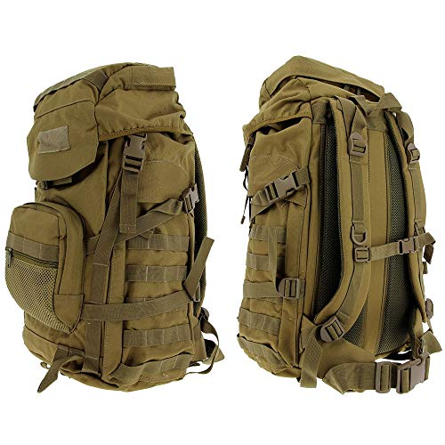 GOLAN 55L Water Resistant Tactical Military Army Rucksack Molle Backpack Camping Hiking Travel Hunting Fishing & Shooting Day 24-48 Hour Bug Out Bag (Desert Sandstone)