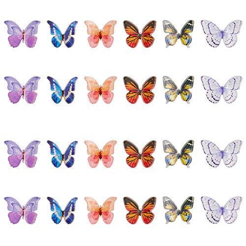 NBEADS 120 abalorios de mariposa, cabujones de plástico de mariposa, decoraciones de mariposa para hacer joyas