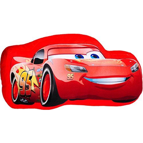 alles-meine.de GmbH Plüsch Kissen / Schmusekissen / Sitzkissen -  Disney Cars - Lightning McQueen  _ Kuschelkissen - 40 cm * 22 cm - Figur Form - groß - sehr weich - für Jungen..
