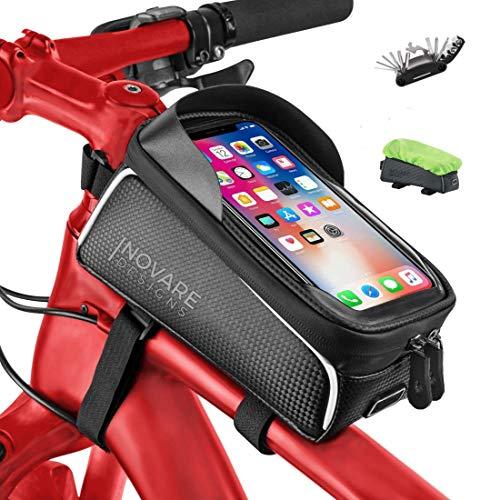Bike Phone Bag Waterproof - Mountain Bike Accessories for Women, Men, Adults - Bike Bags Frame - Bike Phone Mount Bag - Bike iPhone 11 Mount, Bicycle Handlebar Bag, Phone Holder for Bike, (7.9 Inches)