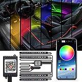 Interial Car Light, 4 Pcs 48 LEDs RGB Car LED Strip Light Kits with App Control Multi-Color Neon Accent Lights Strip Kits Sound Effective Atmosphere Lights