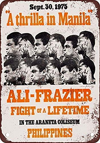 DKISEE Vintage Art Poster Plaque, 1975 Thrilla in Manila Ali Frazier Vintage Look Reproduction Aluminum Metal Sign Wall Decoration, Sign Plaque Metal Antique 12x18 inch