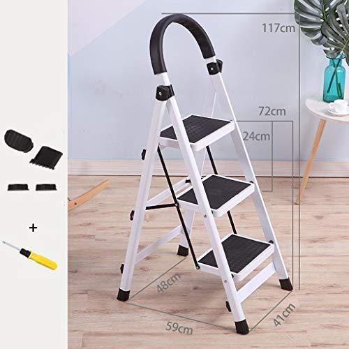 LRZLZY 3-Stufenleiter, tragbare Falten Stehleitern, Heavy Duty Stahl Küchen Schritt Hocker, Anti-Slip mit Gummihandgriff, 330lbs Kapazität (Color : White)