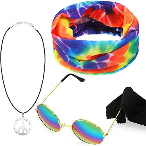 Frienda 3 Piezas Accesorios Hippie de Color de Arcoiris, Incluye 1 Par de Gafas de Sol, 1 Collar de Siglo de La Paz y 1 Pañuelo de Siglo de La Paz (Cuerda Negro y Colgante Plata)