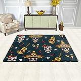linomo Area Rug Teppich Mexiko Zucker Schädel Gitarre Boden Teppiche Fußmatte Wohnzimmer Wohnkultur,Teppiche Flächenmatten für Kinder Jungen Mädchen Schlafzimmer 60 x 39 Zoll - 4