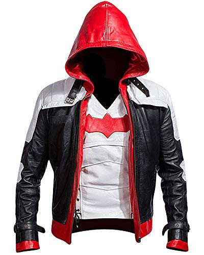 Cup Of Fashion Men's Biker Leather Jacket - Slim Fit Style Leather Costume Men (Large, Arkham Full Suit - White)