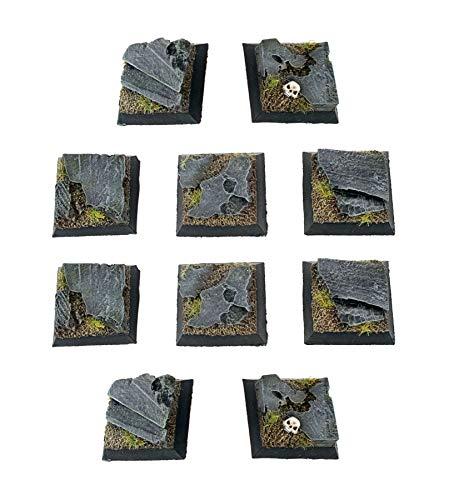 War World Gaming Fantasy Battlefield - Peanas Cuadradas de Rocas x 10 (25mm) - 28mm Wargaming Diorama Miniaturas Batalla Medieval Edad Media Maqueta Wargame