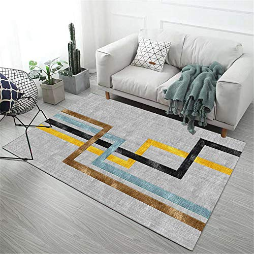 Small Rug Gray classic striped geometric pattern soft carpet anti-dirt and fade-free Large Rugs For Living Room Rugs And Carpets For Living Room grey 140X200CM
