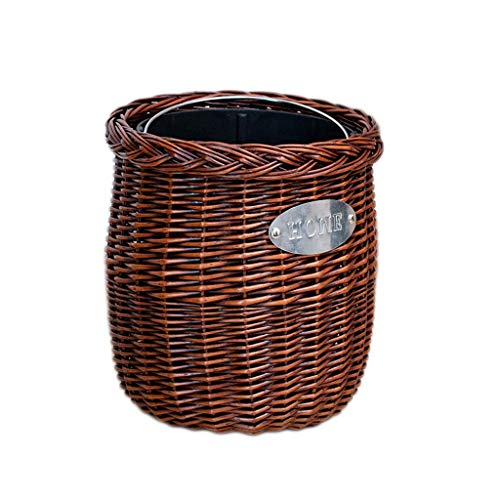 GLF Garbage cans, handmade wicker rattan dustbin without lid, with removable plastic inner bucket, waste paper basket, for kitchen, bathroom, balcony, household waste bins (color: brown, size: oval)