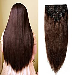 professional Double Weft Human Hair Clip, 100% Remy, # 2 Extension, Dark Brown, 10-22inch, Quality 7A Full …