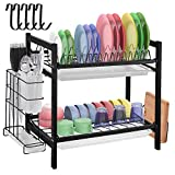 Dish Drying Rack with Drainboard - 2 Tier Dish Rack for Kitchen Counter Stainless Steel Dish Drainer Rack with Utensil Holder Cutting Board Holder Rustproof Dish Strainer Drying Rack with Drainage
