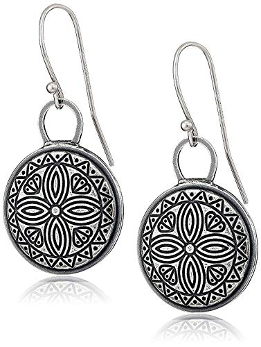 925 Sterling Silver Oxidized Celtic Coin Drop Earrings