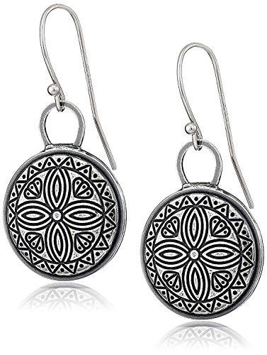 925 Sterling Silver Oxidized Celtic Coin Drop Earrings