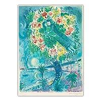 マークシャガールアートパネルワークポスタープリントカップルと魚キャンバスアートパネル油絵有名な壁アートパネル写真リビングルームの壁の装飾80x120cmx1フレームなし