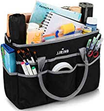 Large Multi-Functional Carrying Bag, 600D Nylon Artist Tote Bag with 16 Pockets Caddy for Art, Craft, Sewing, Make-up or School, Medical, Office Supplies Organizer, Silver