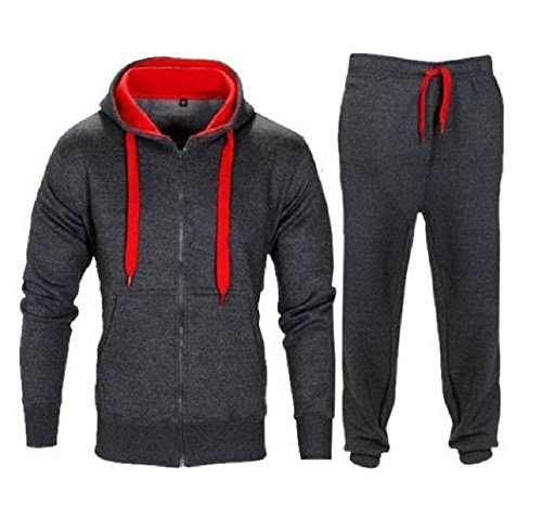 New Kids Boys Contrast Drawcord Fleece Hooded Top Bottom Set Jogging Tracksuit Charcoal-red