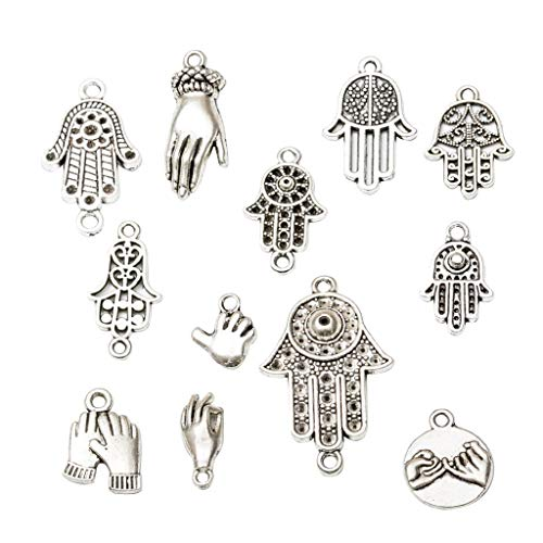 Jewelry 12さまざまな手のひら型シルバーコネクタチャームFジュエリー作りブレスレットクラフト