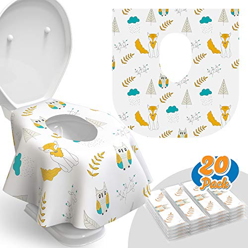 Toilet Seat Covers Disposable - 20 Pack - Waterproof, Ideal for Kids and Adults – Extra Large, Individually Wrapped for Travel, Toddlers Potty Training Public Restrooms (Owls, 20)