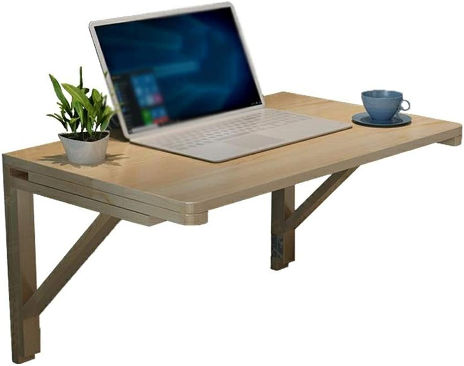 ZZ Folding Table Solid Wood Hanging Folding Computer Table Wall-Mounted Small Desk, Suitable for Kitchen Bedroom (Size 31.5 × 19.7in)