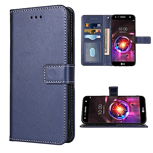 FDCWTSH Compatible with LG X Charge/Fiesta 2 LTE/X Power 2/X5/LV7 Wallet Case Wrist Strap Lanyard Leather Flip Cover Card Holder Phone Cases for LG-M322 XPower 3 SP320 M327 M322 Blue