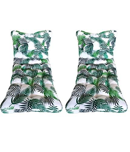 Pack 2 Cojín Colchoneta para Tumbona de jardín y Playa 180x55x8cm. Cojín Relleno de Fibra Hueca Que Proporciona Gran Comodidad, Incluye Almohada. Colores Estampados (Ramas)