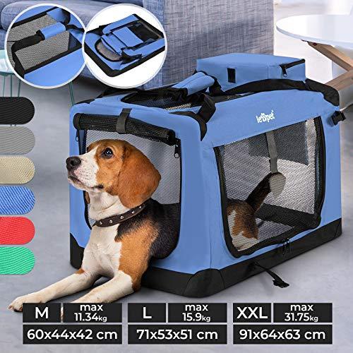 Hundebox - aus Stoff, S bis XXL, Faltbar, Tragbar, Abwaschbar, Größenwahl, Farbwahl - Hundetransportbox, Auto Transportbox, Katzenbox für Hunde, Katzen und Kleintiere (M (11.34kg/60x44x42cm), Blau)