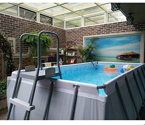 Topashe leicht aufbaubar Aufblasbares Pool,Halterung Schwimmbad-9,7 * 4,88 * 1,32 m,Family Lounge Pool Schwimmbad aufblasbar Familienpool