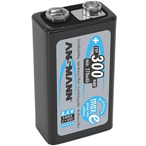 ANSMANN Akku 9V Block Typ 300mAh NiMH mit geringer Selbstentladung - Wiederaufladbare Batterien maxE mit hoher Kapazität - 9 Volt Batterie ideal für Messgerät Multimeter Spielzeug Fernbedienung uvm