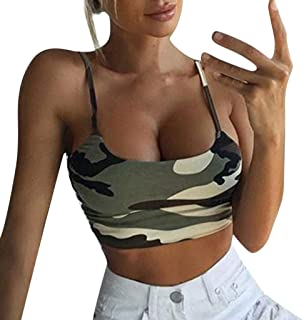 Chanyuhui Crop Tank Top for Women Camouflage Sleeveless Tank Top Camis Spaghetti Strappy Crop Tank Tops Bustier Bra Vest