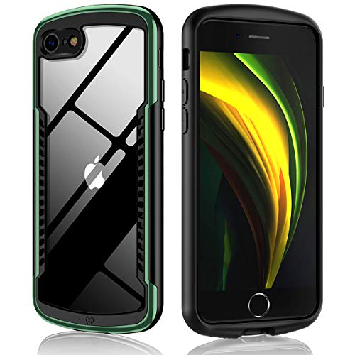 Xundd Case for iPhone SE 2020 (2nd Gen), iPhone 8, iPhone 7 with Tempered Glass Screen Protector, Arc-Shaped Handle with Heat Dissipation Hole Design for Gaming, Shockproof Bumper Cover, Dark Green