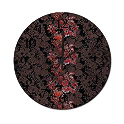 Homesonne Modern Decorative Flowers of in Japanese Art Style Vivid Floral Pattern Boho Print Wall Clock Silent Quality Quartz Perfect for Your Dining Room Black Orange Mustard 11.8 Inch