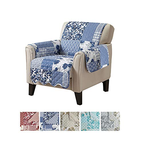 Great Bay Home Patchwork Scalloped Printed Furniture Protector. Stain Resistant Chair Cover. (Chair, Navy)