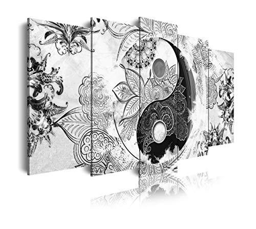 DekoArte 508 - Cuadros Modernos Impresión de Imagen Artística Digitalizada | Lienzo Decorativo Para Tu Salón o Dormitorio | Estilo Ying Yang Abstractos Zen Colores Blanco Negro | 5 Piezas 150 x 80 cm