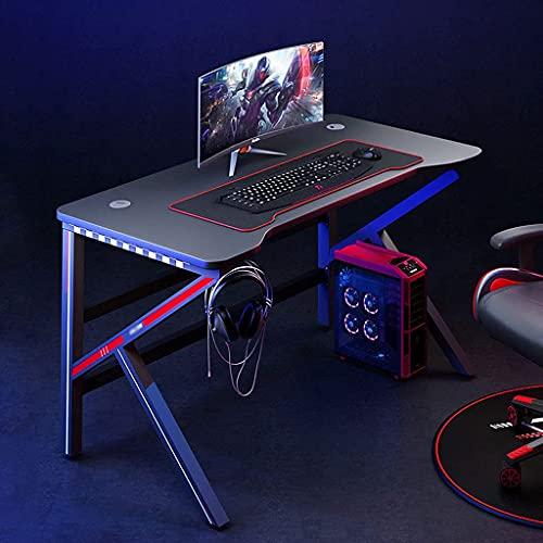 QTWW Escritorio ergonómico de Fibra de Carbono para Juegos, Mesa de Ordenador para PC de Oficina en casa en Forma de K, estación de Trabajo para Jugadores con Luces LED RGB, mesas de Juego Estilo