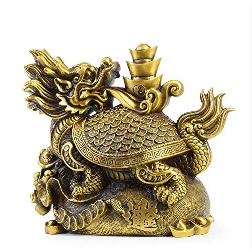 YOPDNE Rame Puro Seiko Dragon Tartaruga Decorazione Nikkin Doujin Testa di Drago Tartaruga Casa Soggiorno Fortunato Feng Shui Decorazione Artigianato