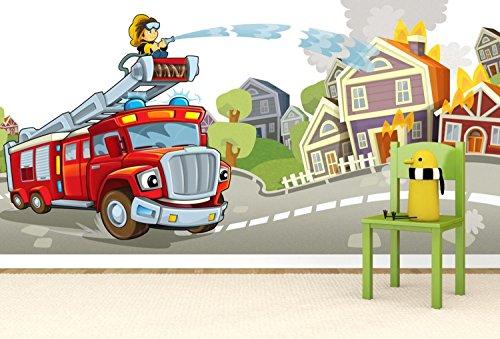 Vlies behang XXL poster fotobehang brandweer kinderkamer 400 x 200 cm selbstklebend Kleur: