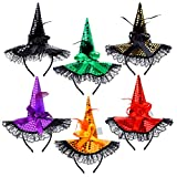 Aneco 6 Pack Halloween Witch Sequins Headbands Costume Witch Hat Headbands Boppers Accessories for Halloween Party Cosplay Headdress
