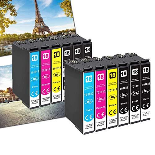 Karl Aiken 12 18XL - Cartucho de tinta compatible con Epson Expression Home XP-202 XP-205 XP-215 XP-225 XP-305 XP-315 XP-322 XP-325 XP-405 XP-415 XP-425